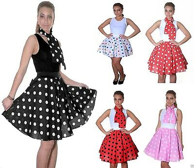 50 S Outfits (LADIES WOMENS ROCK & ROLL POLKA DOT SKIRT 50s FANCY DRESS HEN NIGHT PARTY OUTFIT)