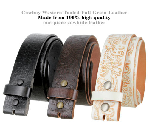 "Bs036 Western Floral Engraved Tooling Full Grain Leather Belt Strap, 1-1/2"" Wide"