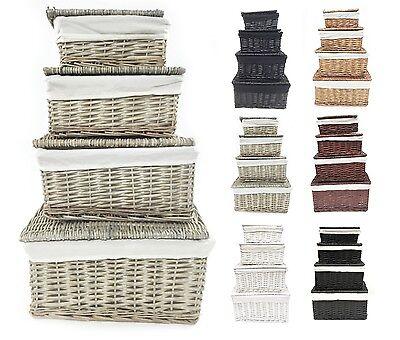 Black White Grey Lidded Wicker Storage Toy box Empty Xmas Hamper Basket Lining ()