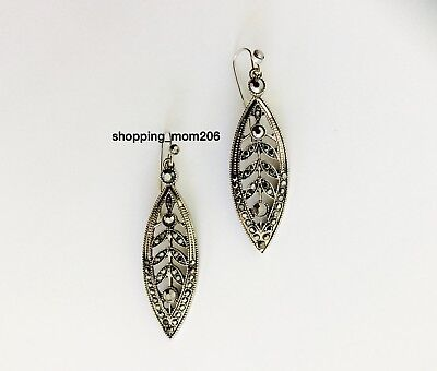 1928 Silver Tone with Hematite Crystals Earrings