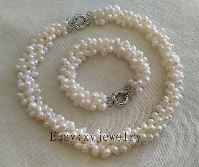 (Cultured 7-8mm white baroque fresh water pearl twist necklace/ bracelet/ set)