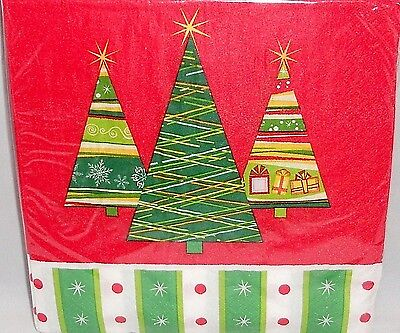 Christmas Luncheon Napkins  TRENDY TREES  20 Ct  12 7/8