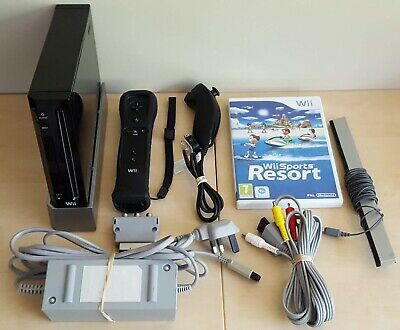 Nintendo Wii Black Console with Wii Sports Resort + Official Remote + Nunchuck