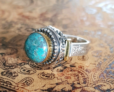 Gold & Silver Turquoise Ring, size 9 1/2 US, Genuine, Healing
