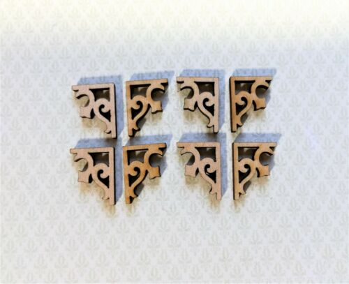 Dollhouse Miniature Wood Corbels or Brackets 1:12 Scale Set of 8 Small Classic
