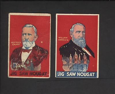 1933 Jigsaw Nougat Presidents William Harrison and Ulysses Grant
