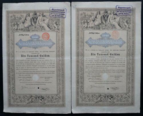 Austria - Imperial Austrian Government - 1868 - 5% bond for 1000 gulden 2x