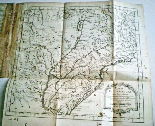 Scarce 1756 MAP OF PARAGUAY by JACQUES NICOLAS BELLIN ~ JESUIT MISSIONARIES