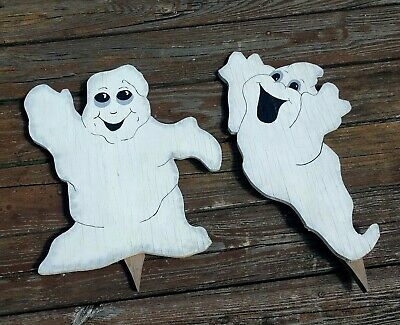 Halloween Yard Decorations Crafts (VTG 2 Halloween Ghost Outdoor Wood Yard Art Decor Handpainted Crafted Lawn)
