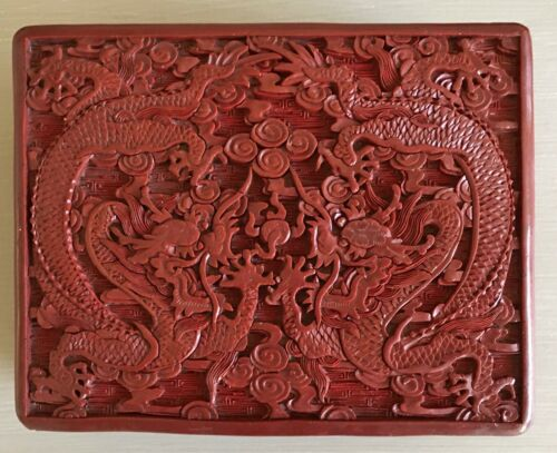 Antique Chinese Deep Red Carved Cinnabar Lacquer Lidded Box Intricate 2  Dragons