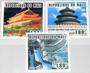 MALI-1996-1657-59-802-4-Sites-of-Beijing-CHINA-96-Peking-great-Wall-Bauwerke-MNH