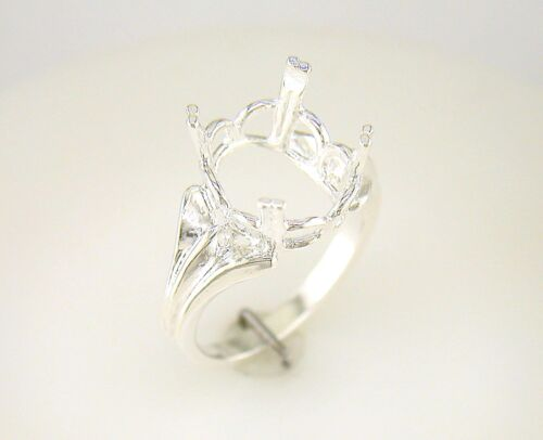 Oval Regalle Solitaire Ring Setting Sterling Silver