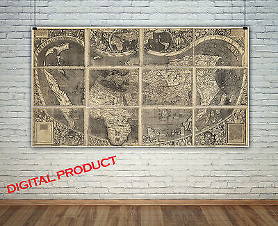 (Unique Giant vintage WORLD MAP Poster Print Wall Picture PRINTABLE Digital)