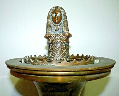 Vtg Art Deco 1921 Egyptian Revival Cleopatra Hotel Smoking Stand Floor Ashtray