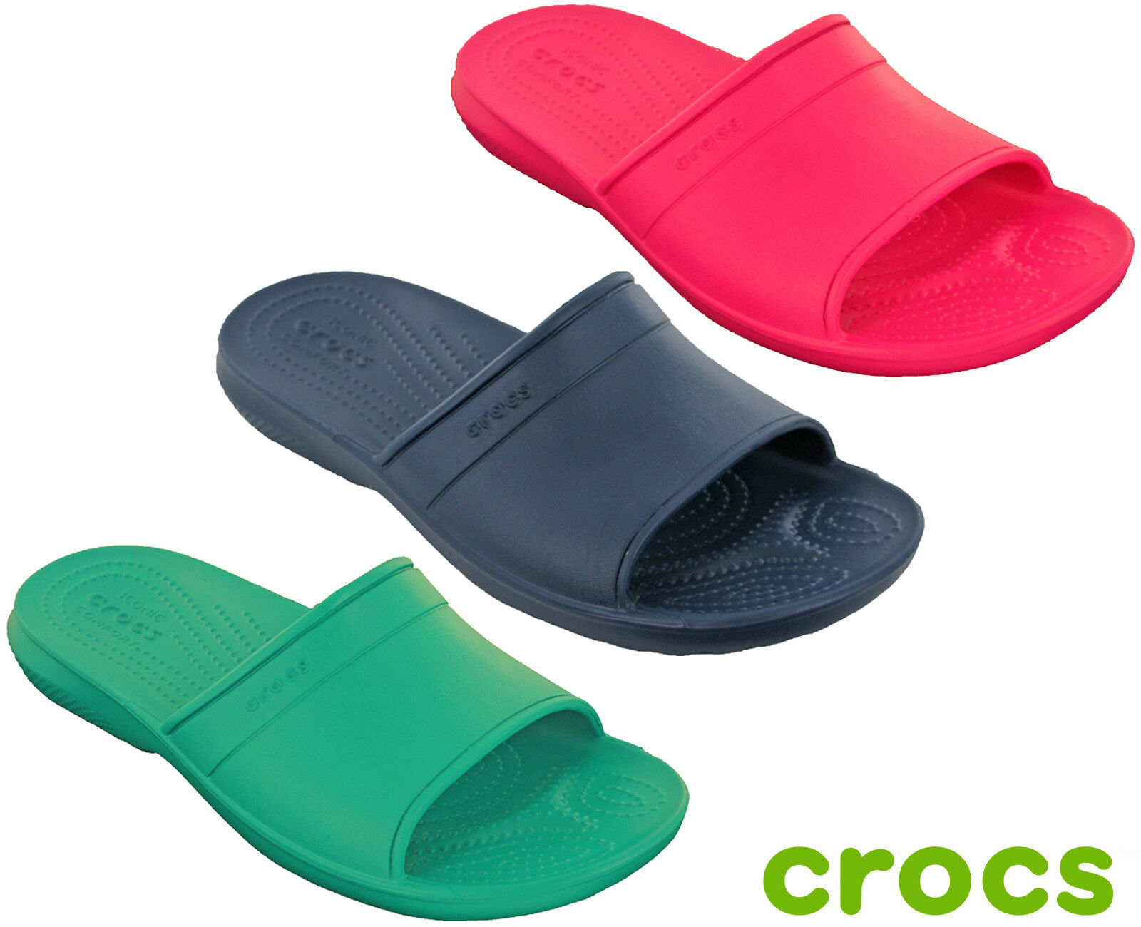 Details zu Crocs Classic Slide Sandals Open Toe Womens Lightweight Flat Cushioned Padded