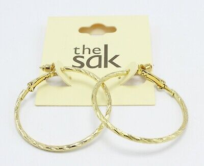 New Gold Tone Twisted Hoop Earrings by The Sak #SAK43 Gold Tone Twisted Earrings