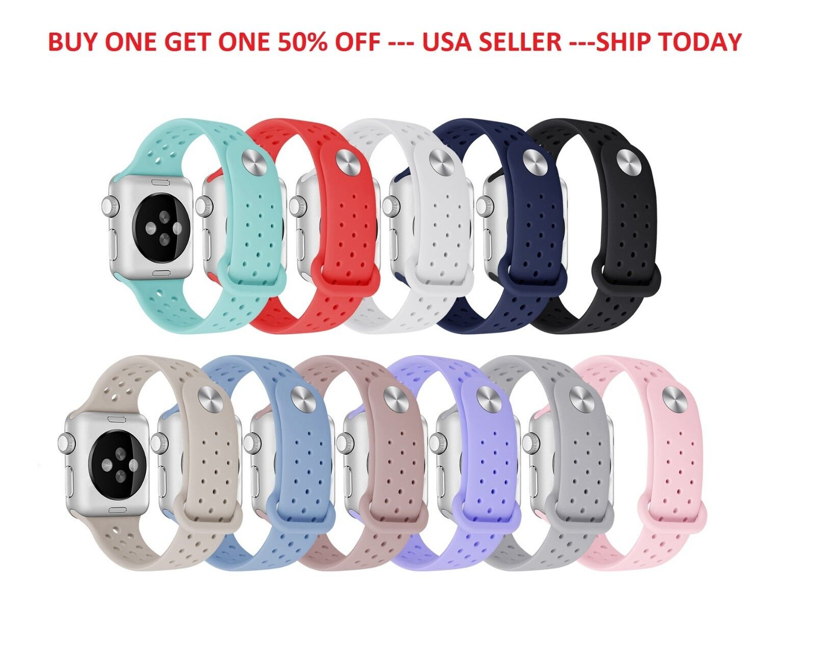 Replacement Sports Silicone Strap Band for Apple Watch Series 4/3/2/1 38mm 42mm Jewelry & Watches