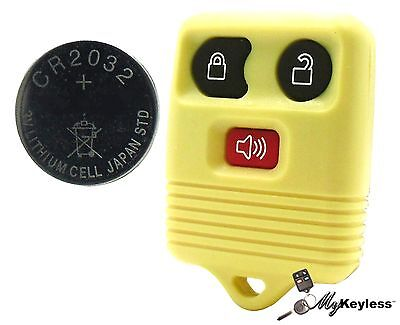 New Yellow Ford Mercury Replacement Keyless Entry Remote Key Fob+ CR2032 Battery
