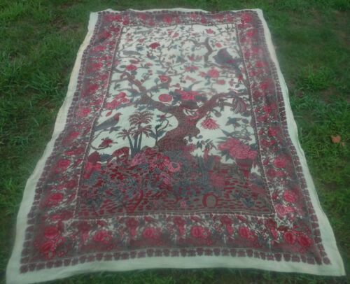 """Vintage Indian Tapestry TREE OF LIFE Woven Twill Decoration Throw 104"""" x 65"""""""