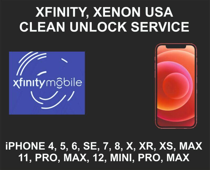 Xfinity, Xenon USA Clean Unlock Service, fits iPhone 8, X, XR, XS, 11, 12, Pro