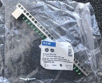Eaton Gbkp2120 21 Circuit Ground Bar Kit With 20 Lug New
