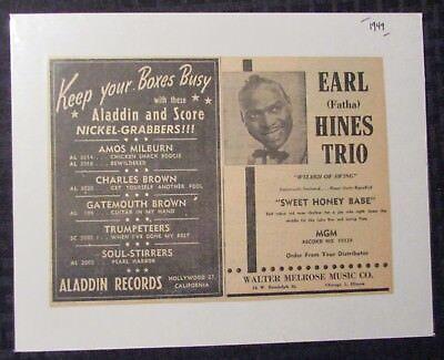 """1949 Aladdin Records EARL Fatha HINES TRIO 9x6.25"""" Print Ad FN 6.0"""