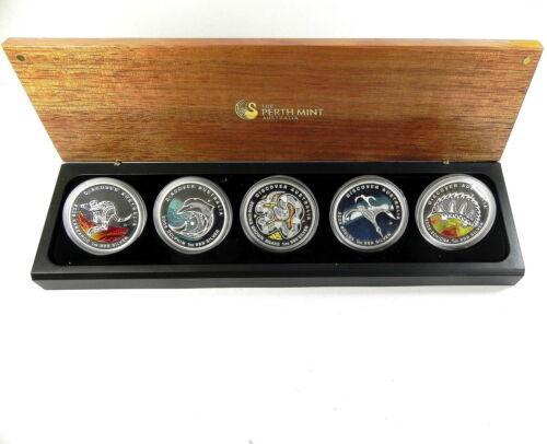 2009 Australia 5 Proof Coins $1 Discover Australia .999 Silver X 5 oz of Silver