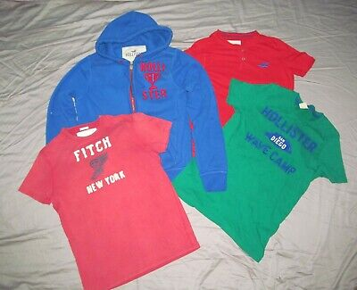 Hollister, Abercrombie & Fitch Men M Med Lot 5 pc shirts 4 tees, one zip hoodie