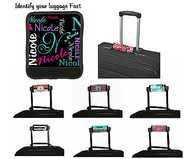 Luggage Handle Wrap - PERSONALIZED LUGGAGE HANDLE WRAP VACATION LUGGAGE IDENTIFY FINDER NAME ALL OVER