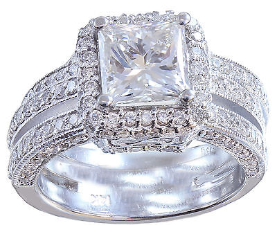 GIA G-VS2 14K white gold princess cut diamond engagement ring and band 2.50ctw 9