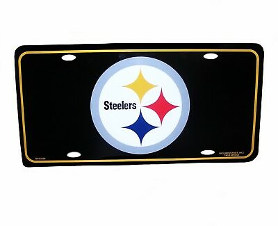 NFL Novelties-Souvenirs - Pittsburgh Steelers NFL Black Metal License Plate, - Nfl Novelties