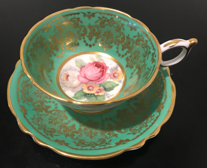 Paragon Green Floral Cabbage Rose Cup Saucer Scallop Gold Rim