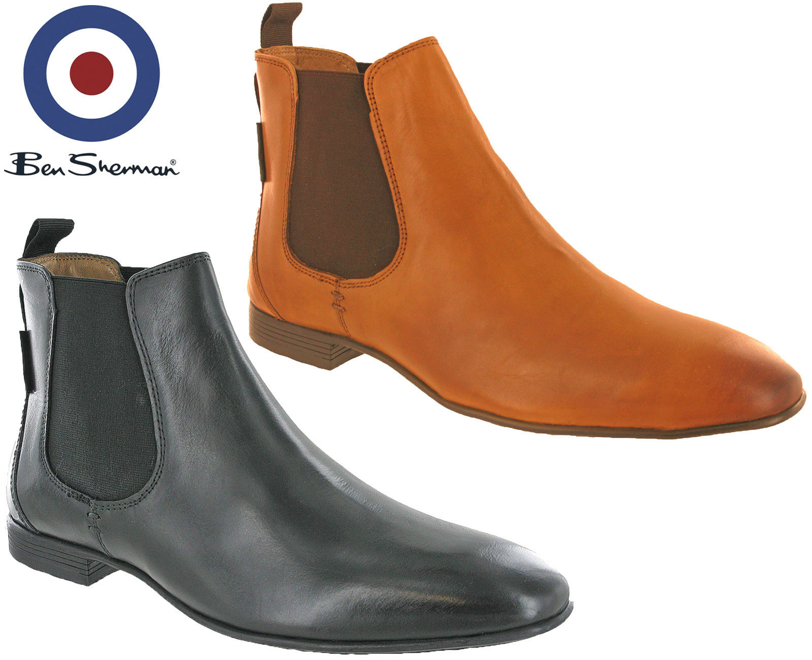 360ce8778d6 Details about Ben Sherman Chelsea Boots Leather Mens Archibald Smooth Ankle  Pull On UK 7-11