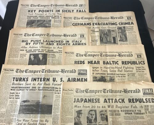 Lot Of 8 War Time WWII Newspapers Front Pages Originals Axis Allies US Military