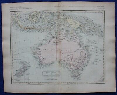 AUSTRALIA AND ISLANDS ADJACENT, original antique atlas map, Butler, 1860