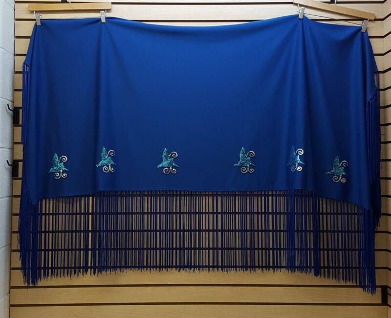 LONG HOMEMADE BLUE SEQUINNED HUMMINGBIRD DESIGNS NATIVE AMERICAN INDIAN SHAWL