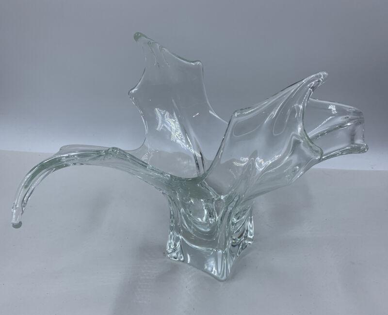 MCM Art Glass Free Form Splash Effect Centerpiece Bowl Vase Mid Century Modern