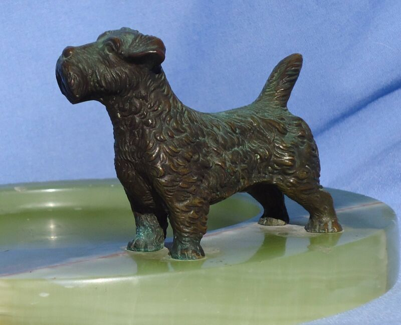 "VIENNA BRONZE SEALYHAM CESKY TERRIER 8"" TRAY DOG"