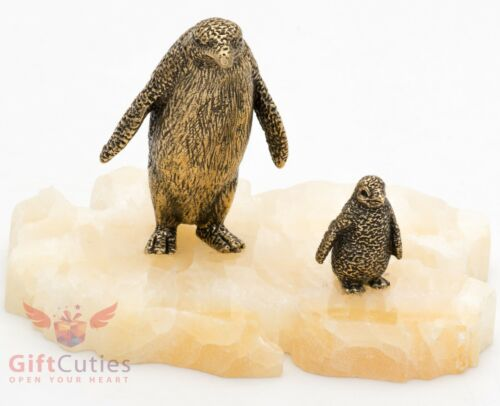 Bronze Figurine of penguin with chick on onyx stone