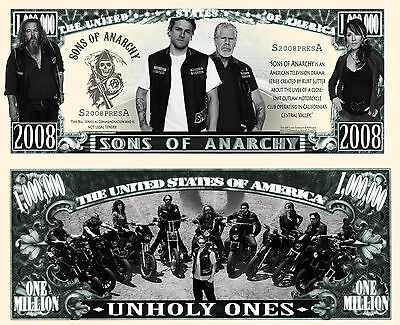 Sons Of Anarchy Million Dollar Bill Collectible Fake Funny Money Novelty Note