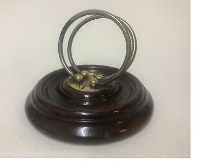 Antique Oak & Brass Travelling  Folding Letter Rack Ring Design Initials M.S J.F