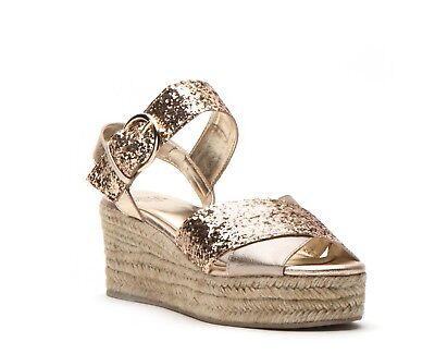 Gold Glitter Platform Sandal (FRANCES VALENTINE Gold Glitter Platform Sandal 7 KATE SPADE Brand New Espadrille)