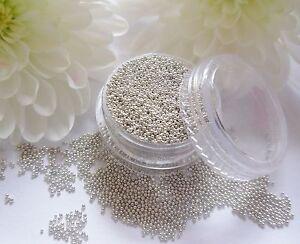 Tiny 5ml Silver Caviar Beads Metal Balls Gem Pot Round Wedding Nail Art Craft