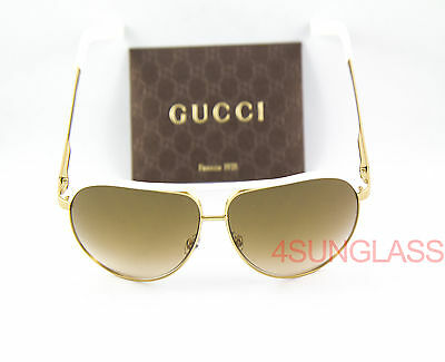 c3cf75c6b1a3 ... Brown Gradient Aviator Sunglasses | upcitemdb. UPC 762753843999 product  image for Gucci 1827 Sunglasses Gold/white Case And Cloth Bnc Is ...