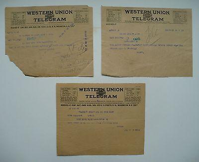 3 TELEGRAMS BY HERBERT HOOVER, UNITED STATES PRESIDENT
