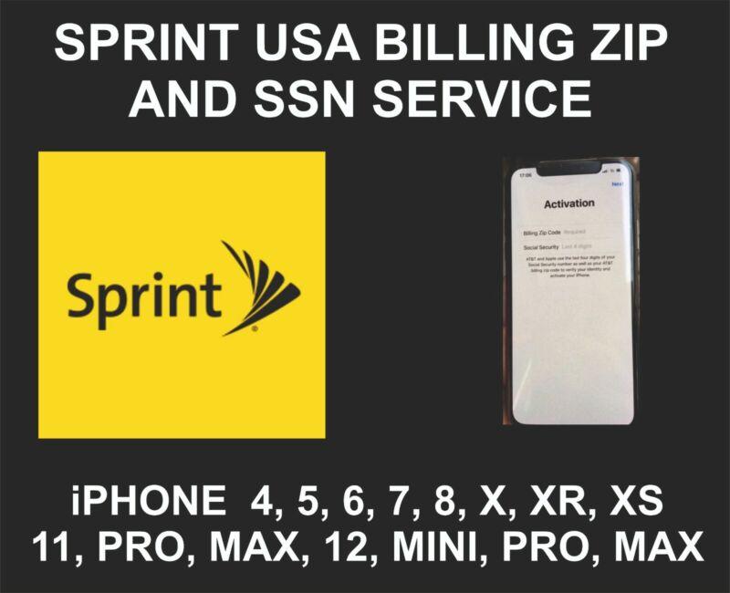 Sprint USA, Zip SSN Screen Unlock Service, iPhone 5, 6, 7, 8, X, XR, XS, 11, 12