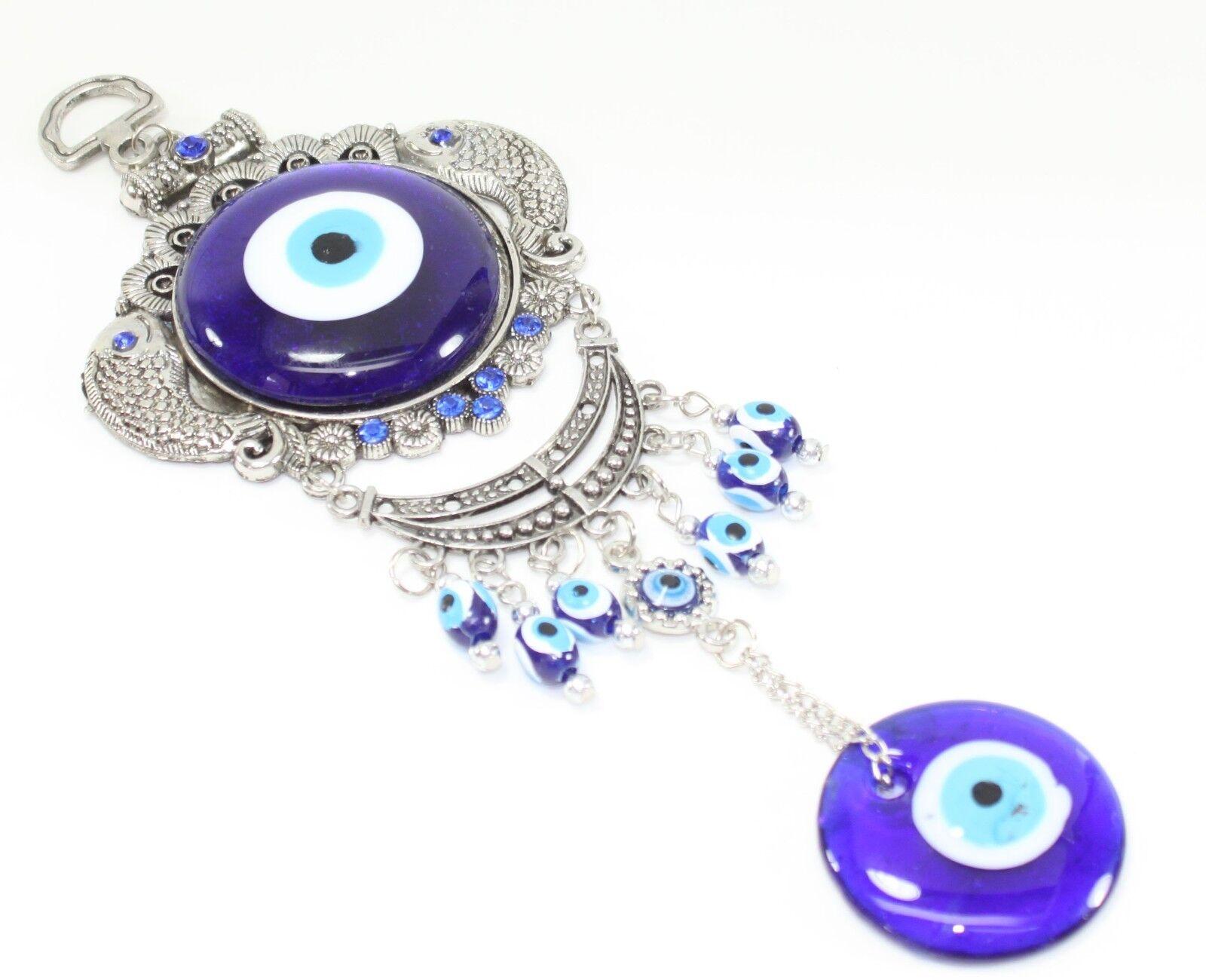 Turkish Blue Evil Eye Fish Amulet Wall Hanging Decor ...