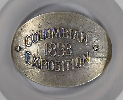 1893 Columbian exposition on 1875 S Seated 20C NGC AU55 elongated