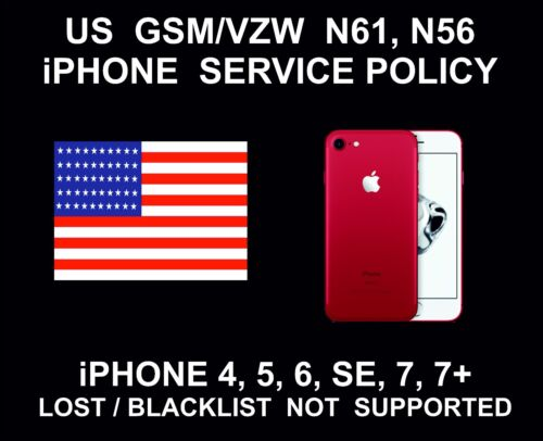 US GSM/VZW N61, N56 Service Policy Unlock Service, fits iPhone 4, 5, 6, SE 7, 7+