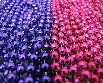 Hot Mardi Gras Girls (2 Dozen Mardi Gras Beads Hot Pink & Purple Mix Girl Party Parade 24)